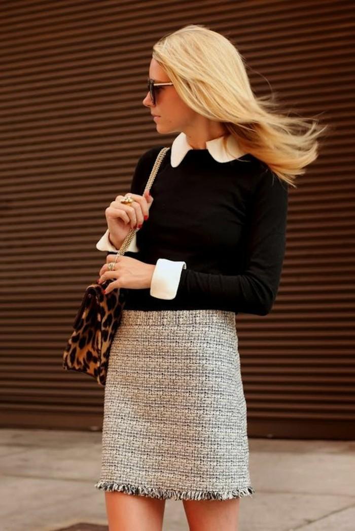 jupe-de-tweed-blouse-col-claudine-tenue-chic