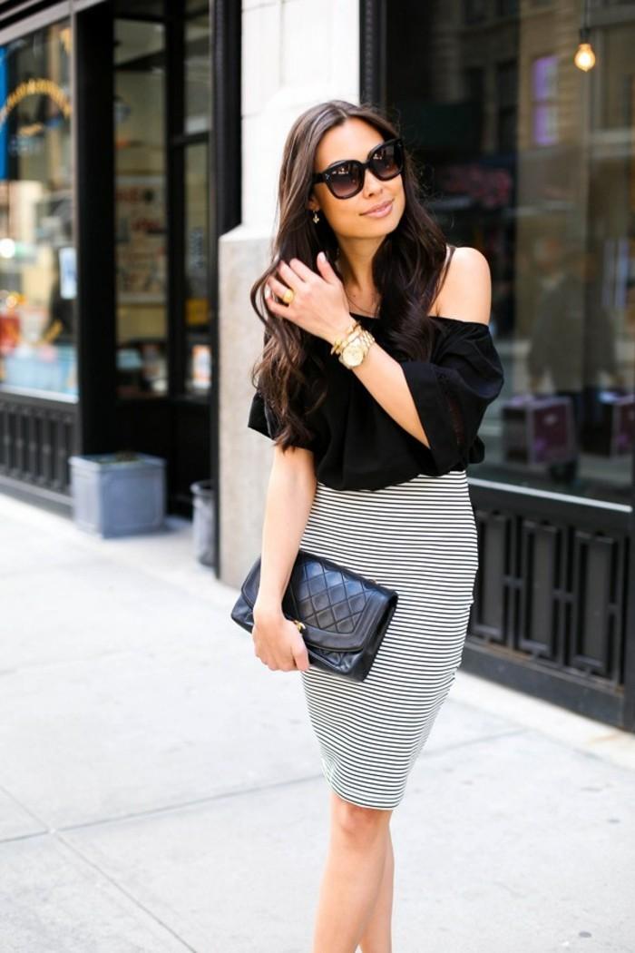 jupe taille haute longue à rayures noires et blanches