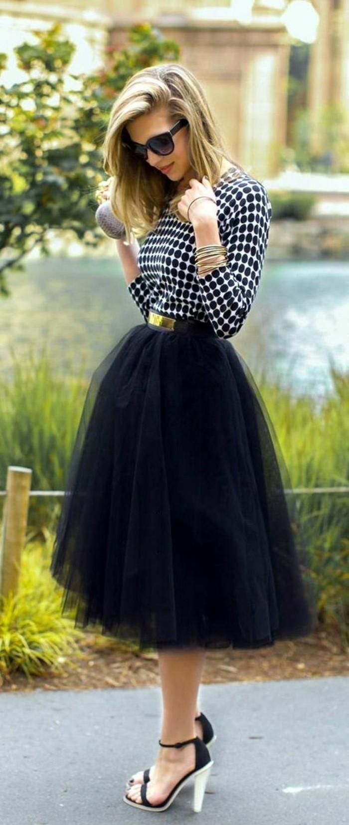 jupe noire taille haute en tulle danseuse chic