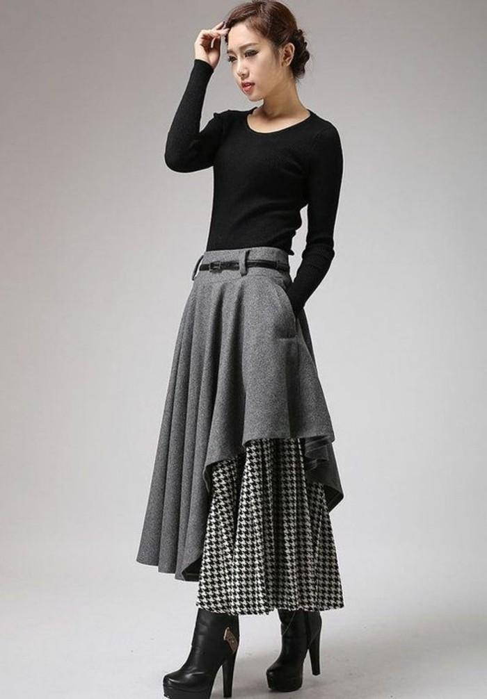 jupes longues taille haute asymétrique en gris et carreaux
