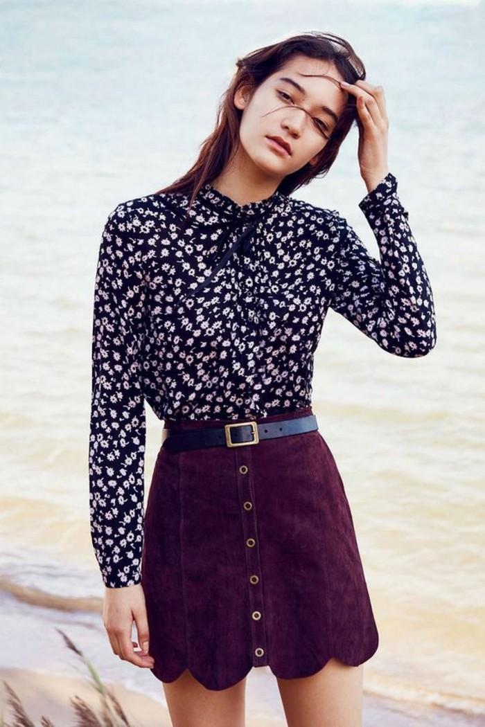 tendance jupe en daim boutonnée devant et chemise florale, jupe trapèze taille haute