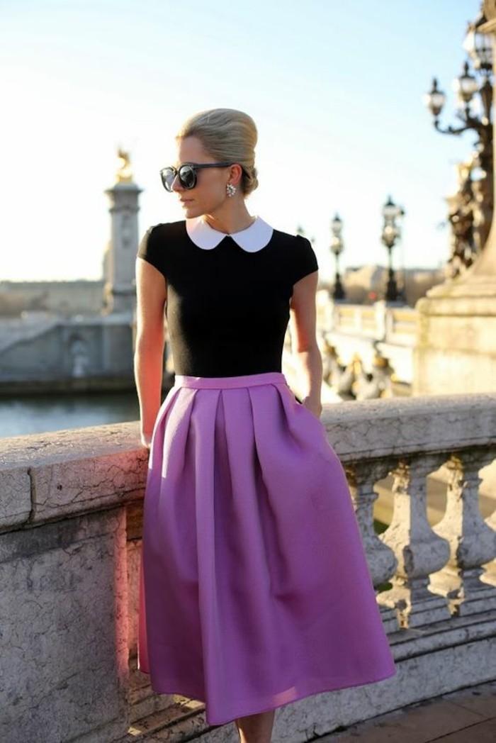 jupe-tulipe-violet-blouse-col-claudine-chic-rétro
