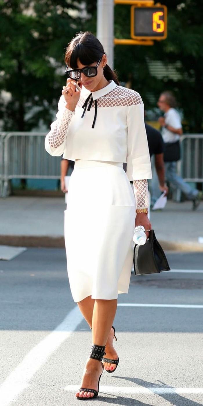 jupe taille haute longue en blanc