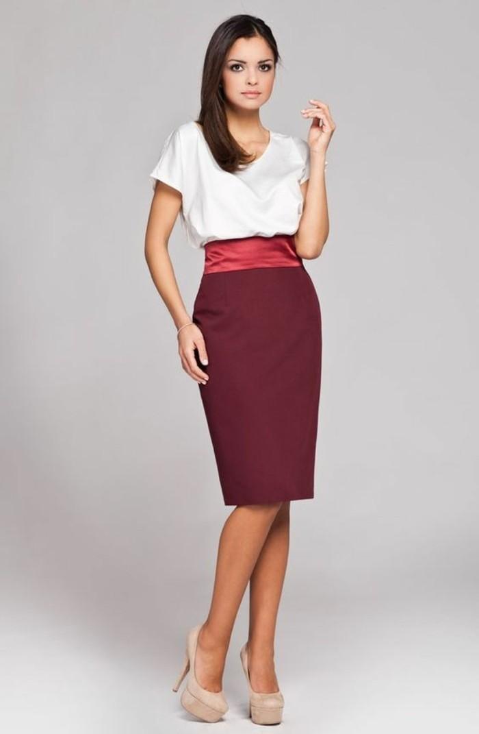 jupes taille haute couleur burgundy accent couleur brique en bande en soie