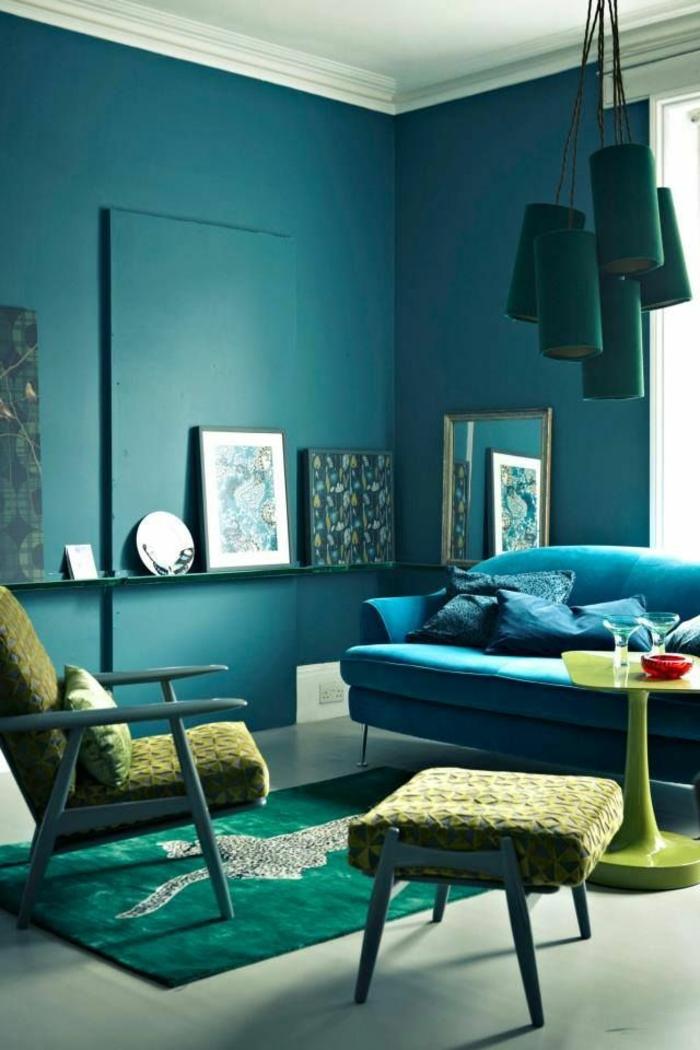 1001 id es pour la d coration d 39 une chambre bleu paon for Photo a la chambre