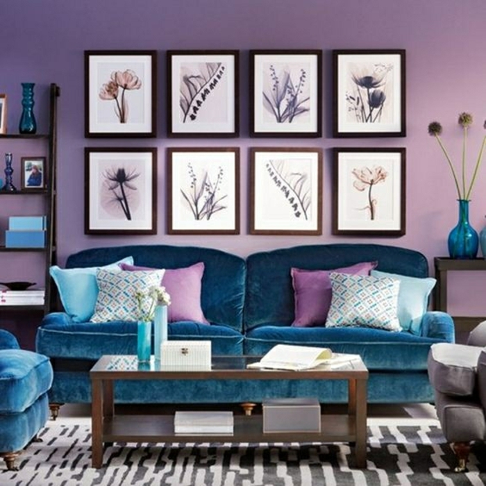 Peacock Blue And Lilac Living Room Ideal Home Housetohome Lilac Blue And Purple Living Room - Decoration, Home Design, Furniture