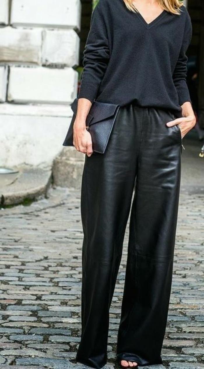 large-panatalon-cuir-pochette-de-soirée-look-touit-noir