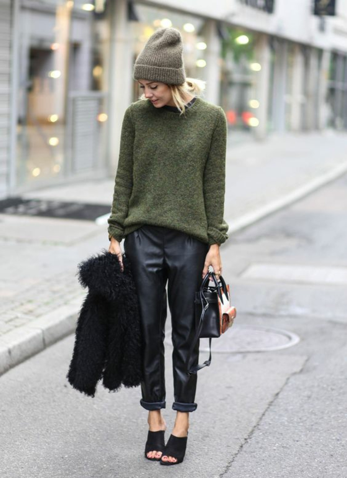 large-pantalon-simili-cuir-pull-vert-olive-