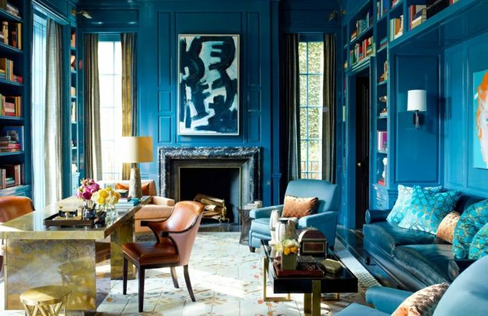 1001 id es pour la d coration d 39 une chambre bleu paon - Chambre blanche et bleu ...