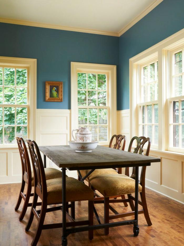 1001 id es pour la d coration d 39 une chambre bleu paon for Salle a manger bleu canard