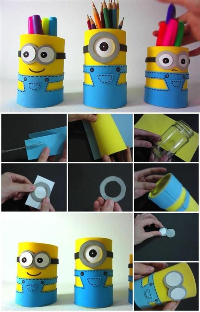 les-étapes-pour-fabriquer-un-pot-à-crayon-minion-idée-de-rangement-crayons-aménager-le-bureau-chambre-enfant-soi-meme