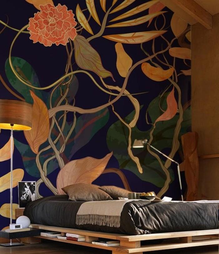 lit-en-palette-chambre-à-coucher-tapisserie-murale-3d-végétation-