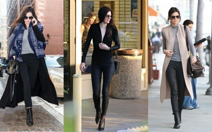 tenue jean noir, bottines en cuir, manteaux longs, lunettes de soleil, sac à main
