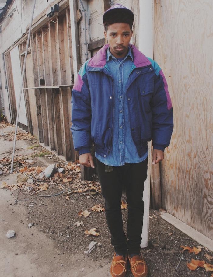 blouson vintage bleu dans la mode année 90