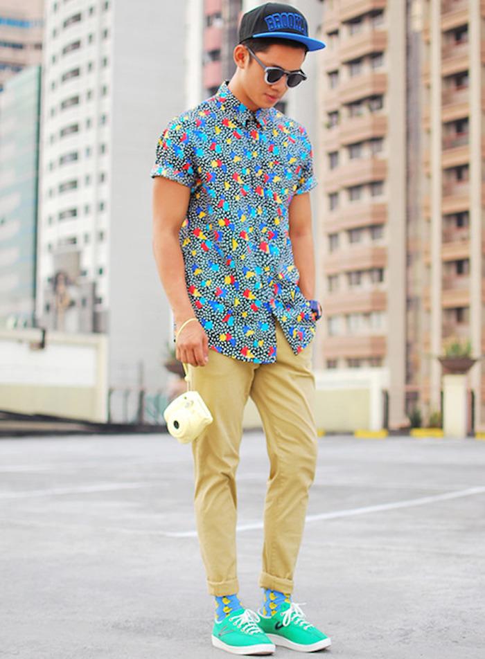 chemise retro colorée theme annee 90