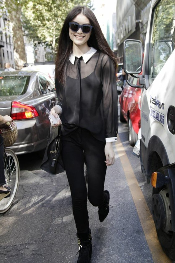 look-noir-chemise-fluide-femme-col-claudine-blanc