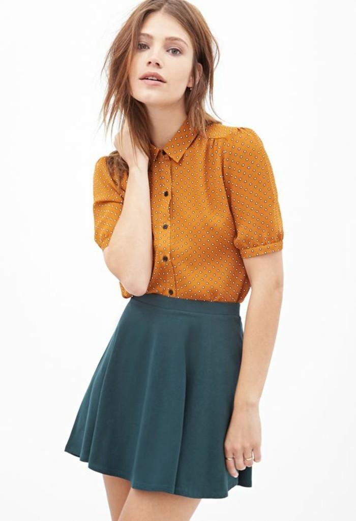look-rétro-chemise-à-pois-femme-tendance-col-claudine