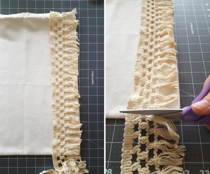diy macramé, comment faire une housse de coussin, bande macramé à franges, paire de ciseaux