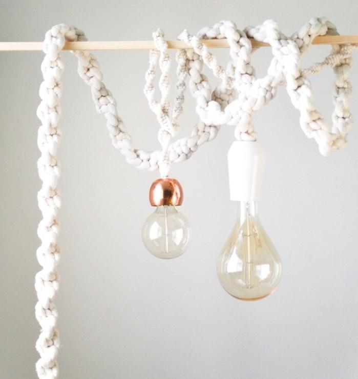 macramé technique, ampoules électriques, corde macramé, décoration boho