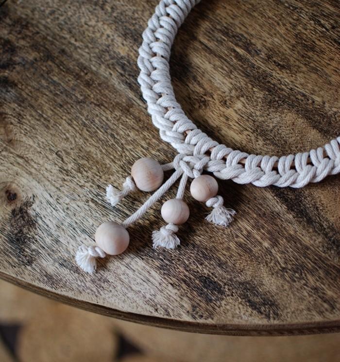 noeud macramé, décoration scandinave, table ronde en bois, diy macramé