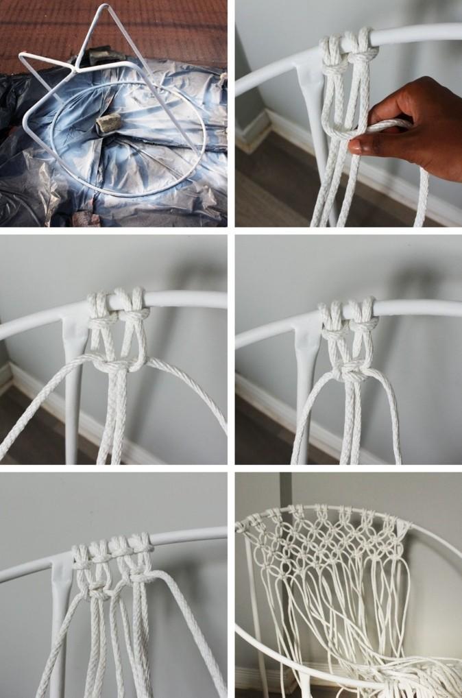 diy macramé, chaise blanche, étapes à suivre, décoration bohème, macramé technique