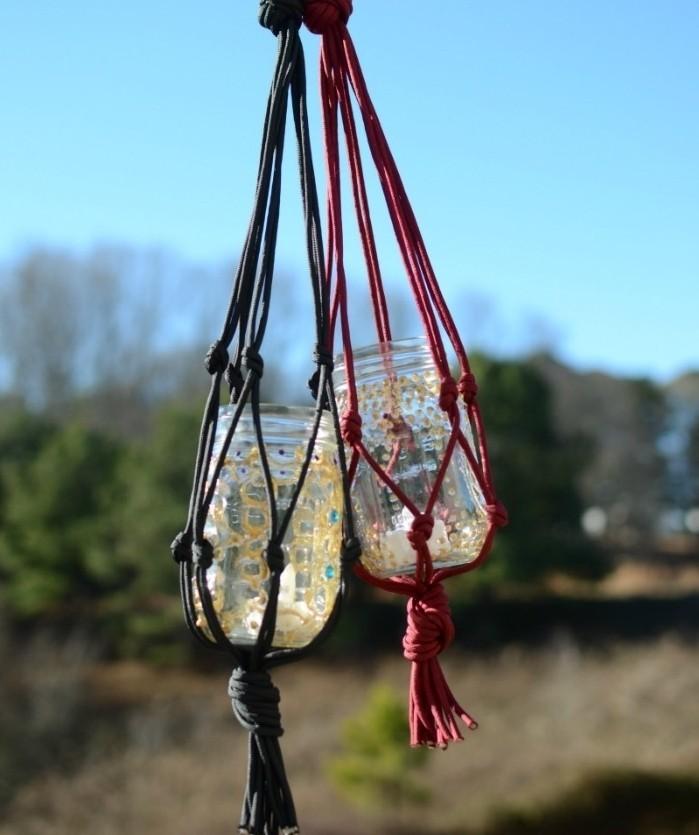 diy macramé, lanterna à bougies, pot en verre, décoration or et turquoise