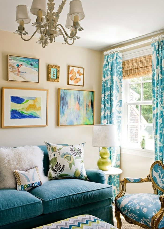 1001 id es pour la d coration d 39 une chambre bleu paon - Deco salon bleu canard ...