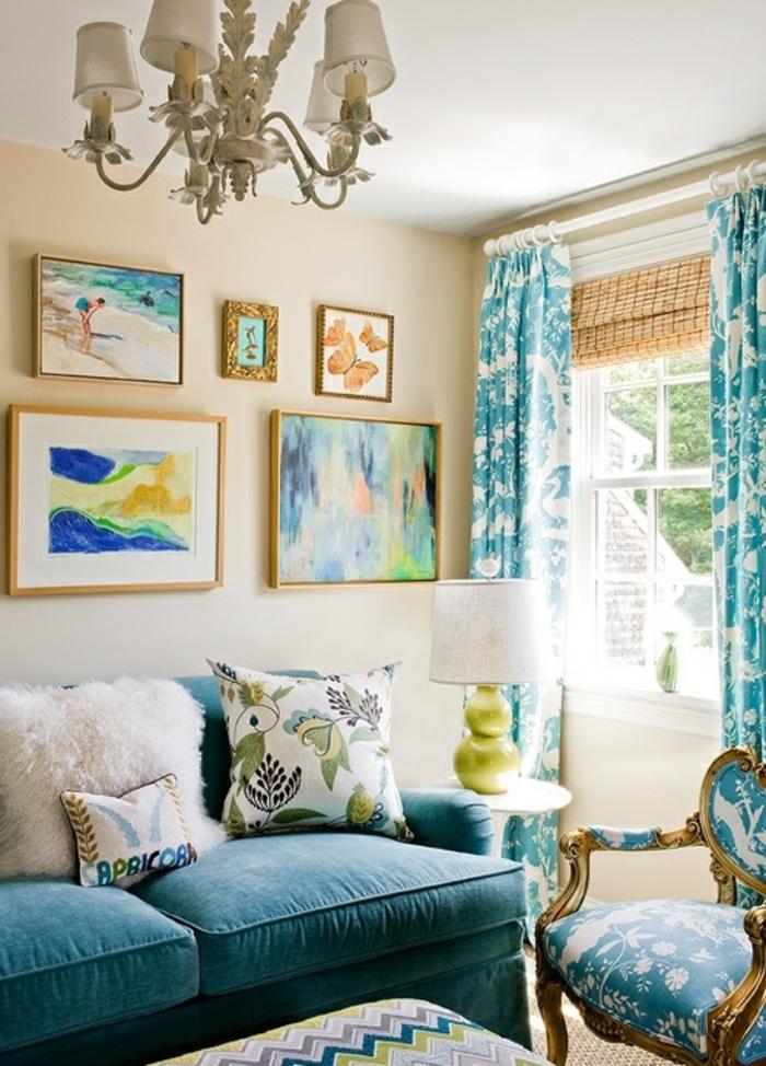 magnifique deco salon bleu canard bleu paon style - Chambre Bleu Paon