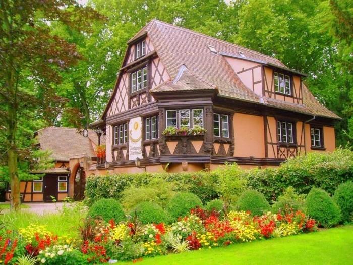 maison à colombage vintage, buis, arbustes et parterre de fleurs champêtres de couleurs diverses, paysage pastoral