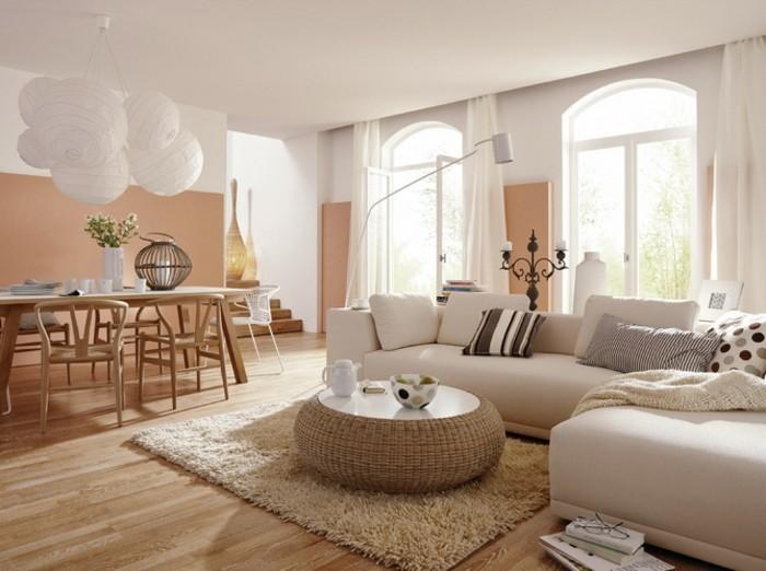 feng shui couleurs, murs pastel, plafond blanc, parquet en bois claire, rideaux longs