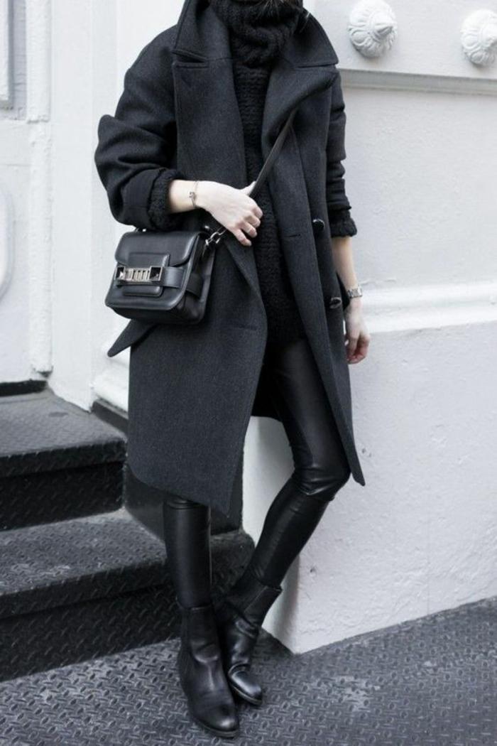 manteau-large-gros-pull-à-col-roulé-slim-cuir