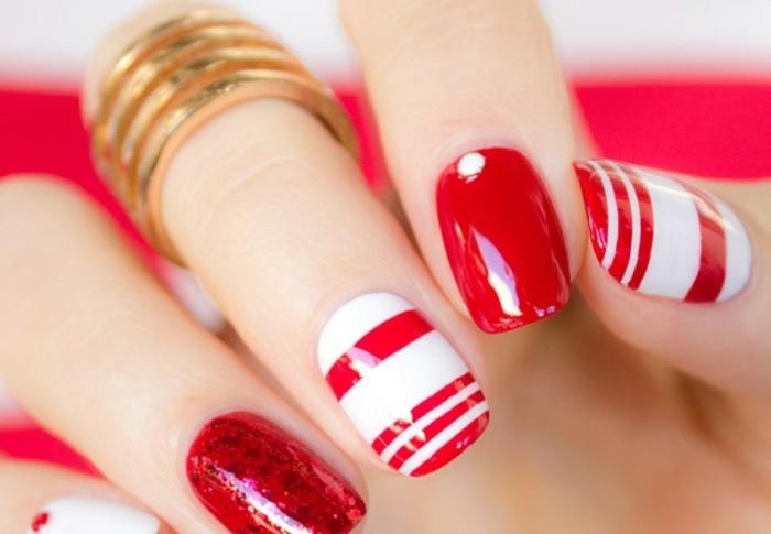 manucure-originale-pour-la-saint-valentin-vernis-rouge-base-blanche-décoration-lignes-droites
