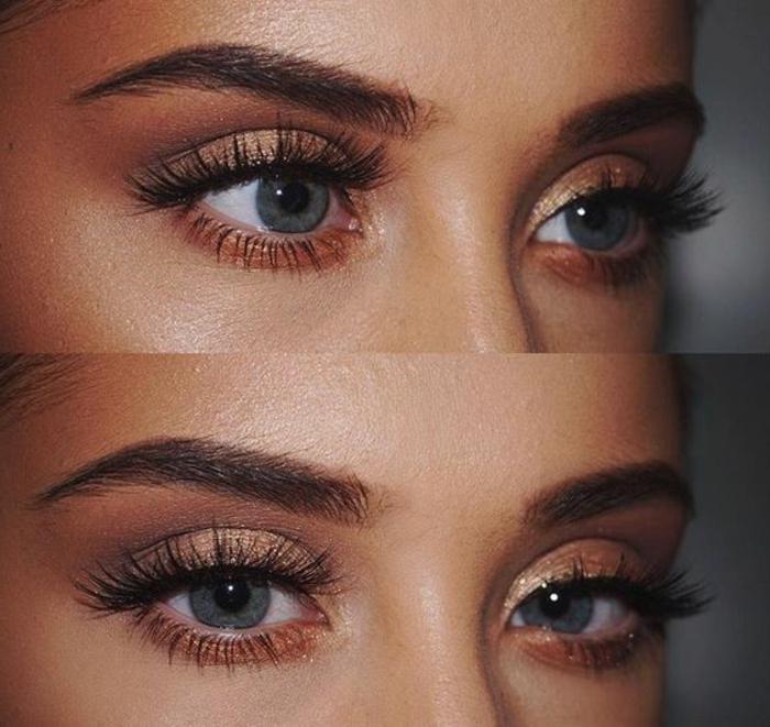 maquillage-des-yeux-bleus-rose-et-doré-maquillage-de-tous-les-jours