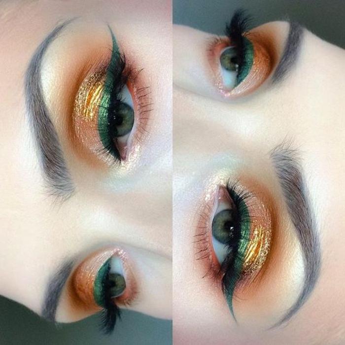 maquillage-des-yeux-bleus-vert-et-doré-sur-yeux-clairs
