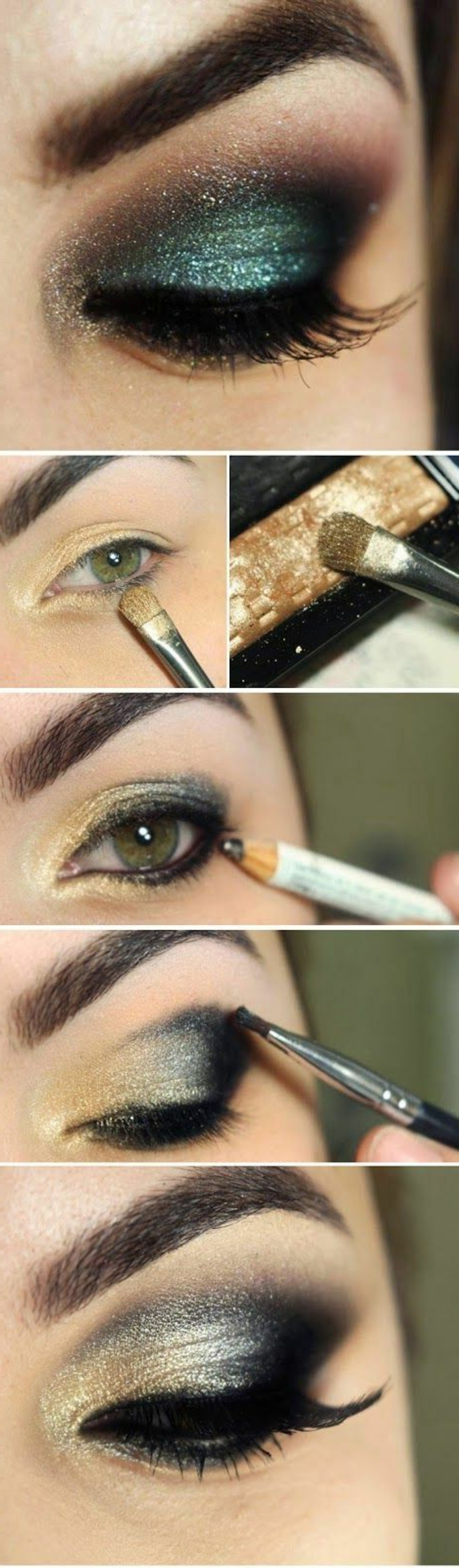 maquillage-des-yeux-doré-et-bleu-