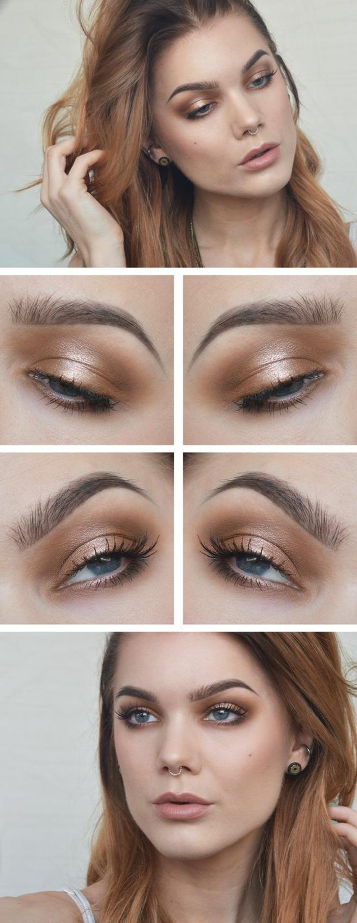 maquillage-des-yeux-doré-femme-au-teint-pâle-maquillage-marron