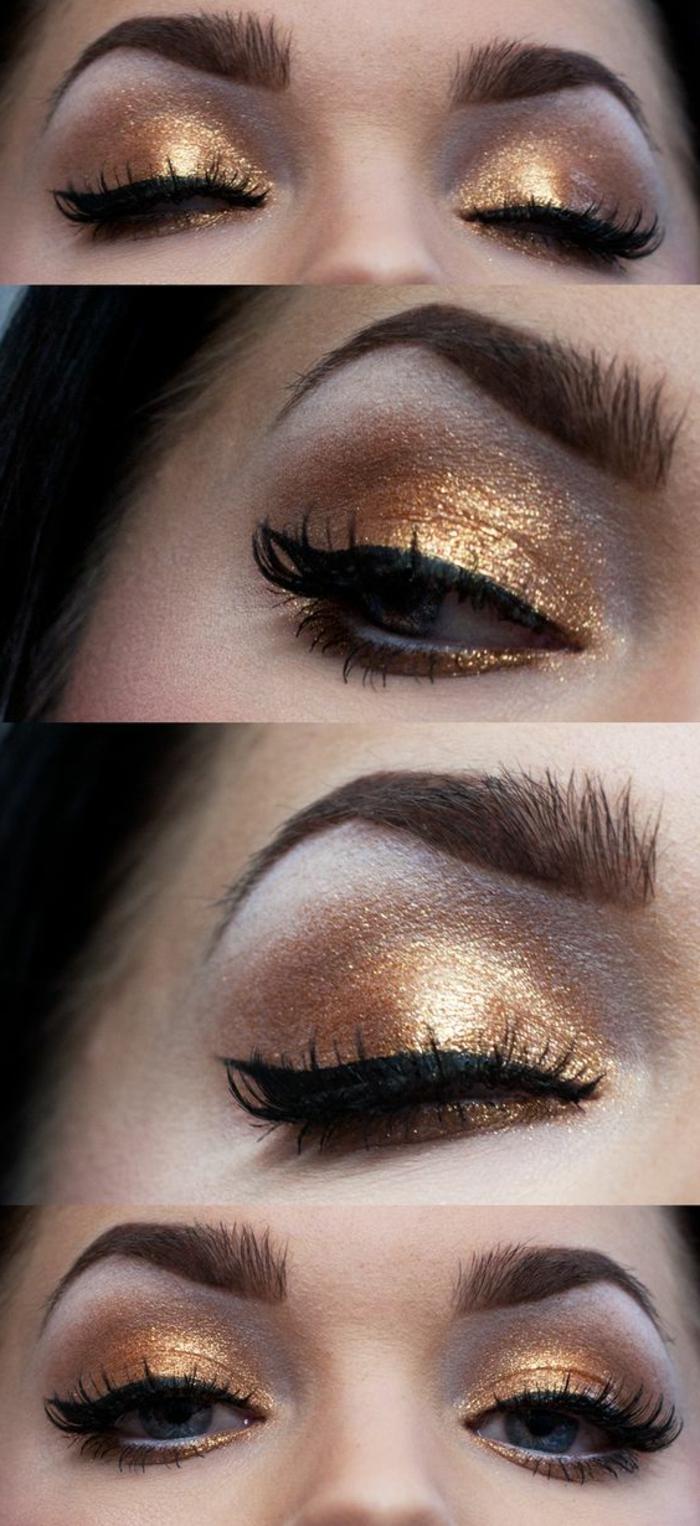 maquillage-des-yeux-doré-joli-maquillage-yeux-bleus