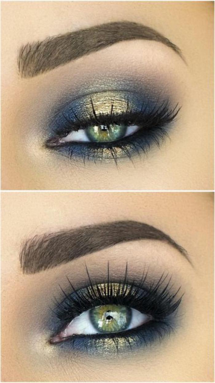 maquillage-doré-et-bleu-yeux-clairs-smokey-eye-gris-bleu