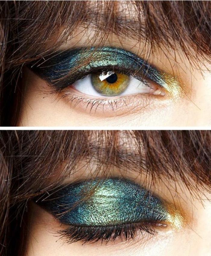 maquillage-doré-maquillage-original-bleu-et-doré