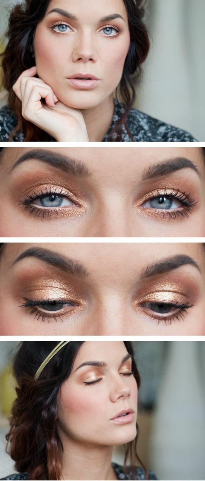maquillage-doré-pour-femme-brune-yeux-bleus-idée-maquillage-naturel