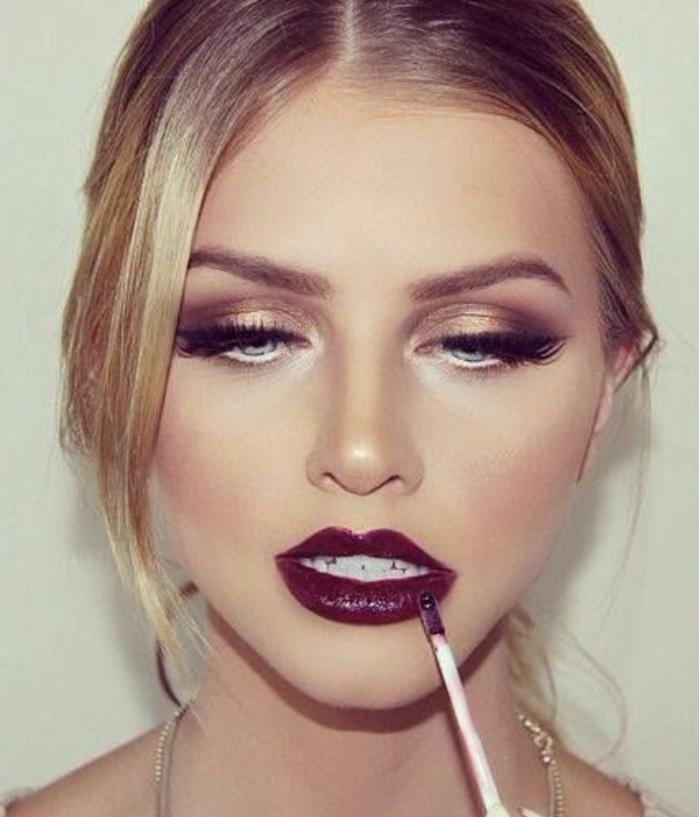 maquillage-marron-doré-lèvres-bordeau-intense-fille-blonde