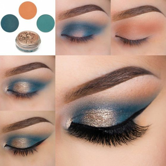 maquillage-smokey-eye-doré-et-bleu-idées-maquillage