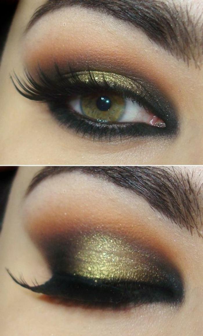 maquillage-smokey-eye-vert-doré-regard-éclatant-et-maquillage-parfait