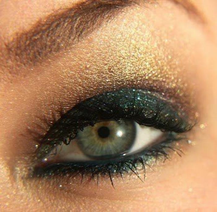 maquillage-smokey-eye-vert-et-doré-idées-et-tuto-maquillage