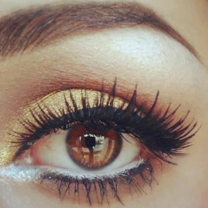 maquillage-soirée-doré-yeux-marrons-mascara