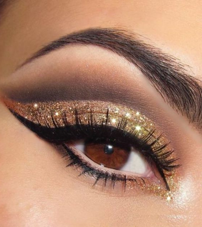 maquillage-yeux-marrons-regard-illuminé-par-le-doré