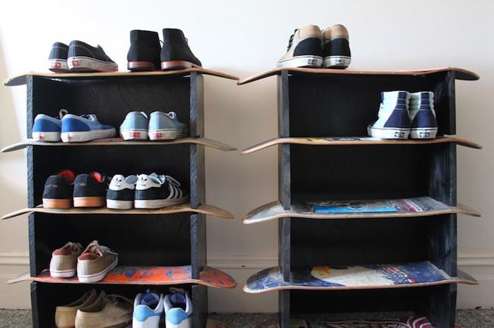 meuble à chaussures diy étagères muralesétagère skateboard decoration deco skate planche pour etagere