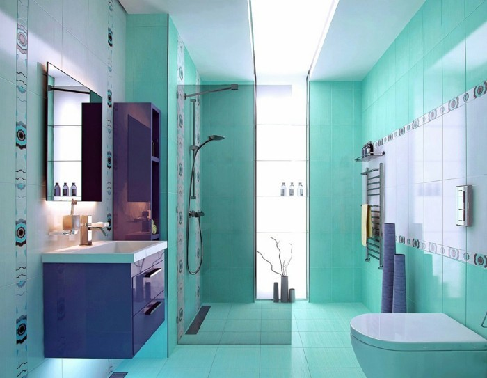 meuble de salle de bain turquoise. Black Bedroom Furniture Sets. Home Design Ideas
