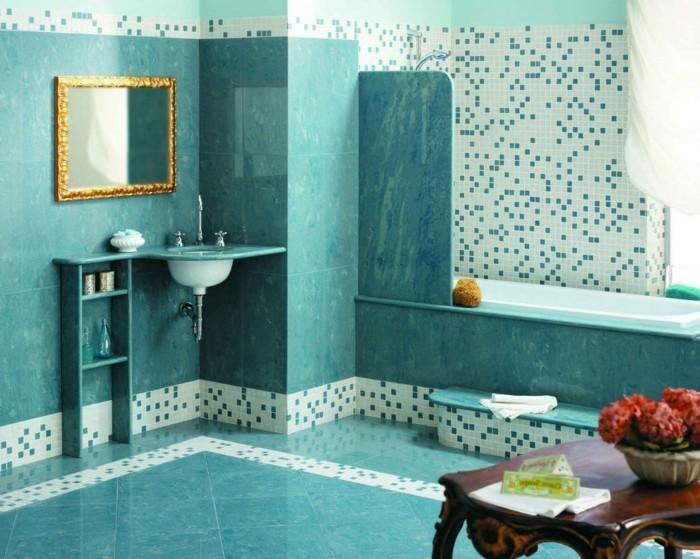 meuble de salle de bains decoration turquoise table - Salle De Bain Turquoise Et Bois