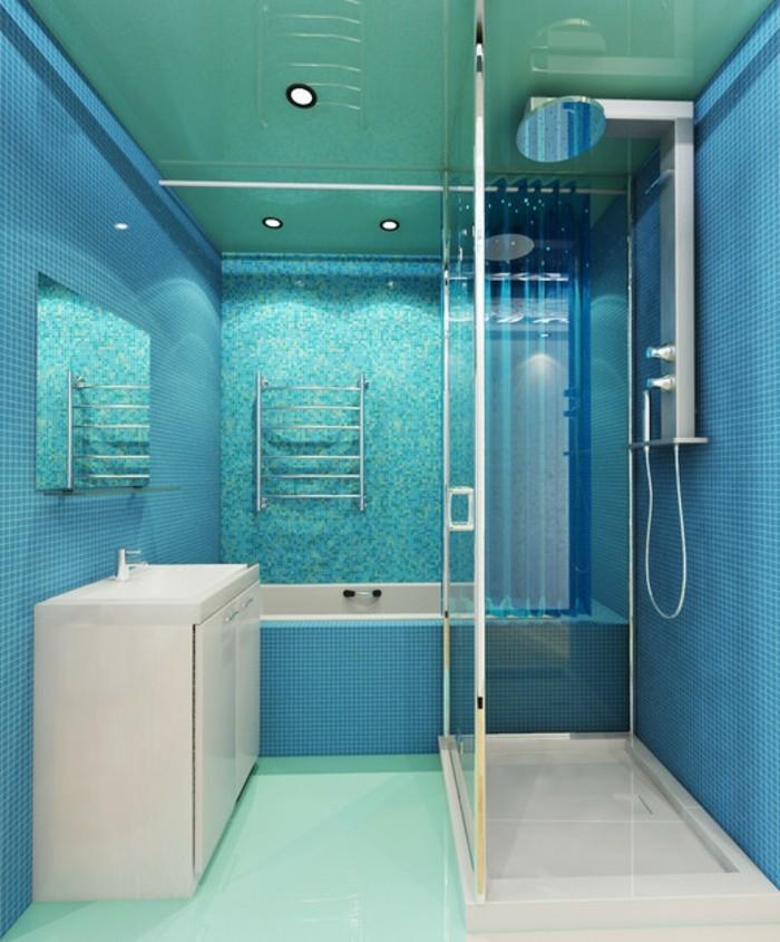 meuble-de-salle-de-bains-turquoise-cabine-de-douche-lavabo-étagère-baignoire